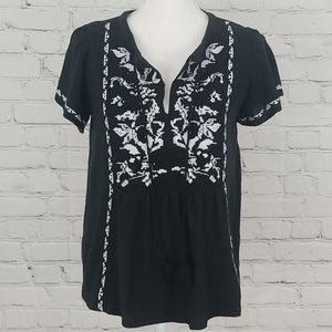 Anthropologie Short Sleeve Embroidered Shirt